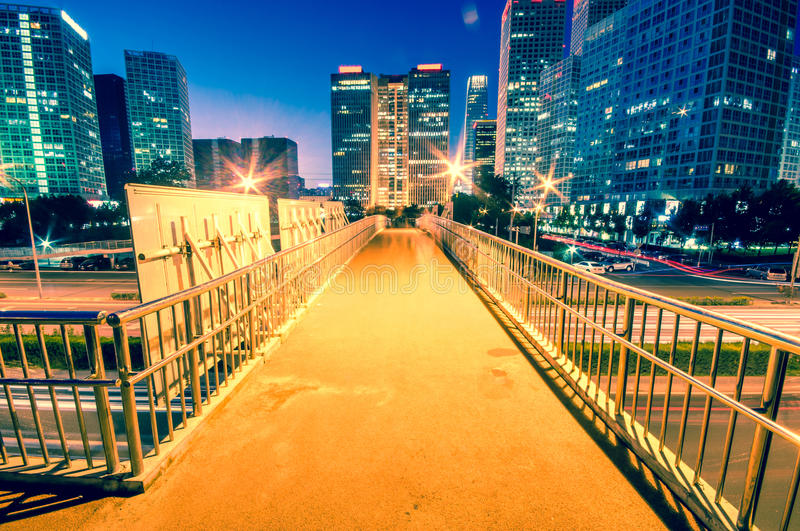 Light trails on the modern city at dusk. In beijing,China royalty free stock photos