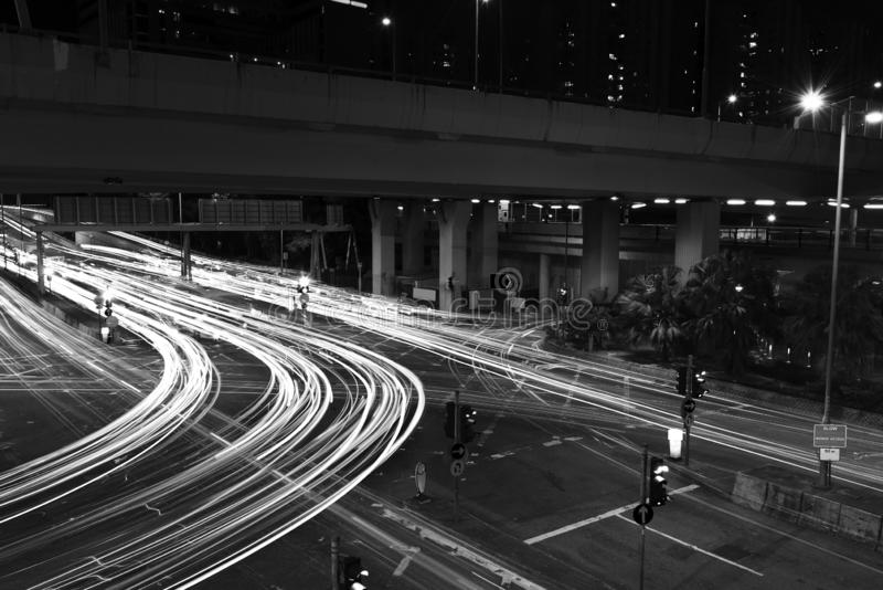 Night traffic in the street in Hong Kong city stock image