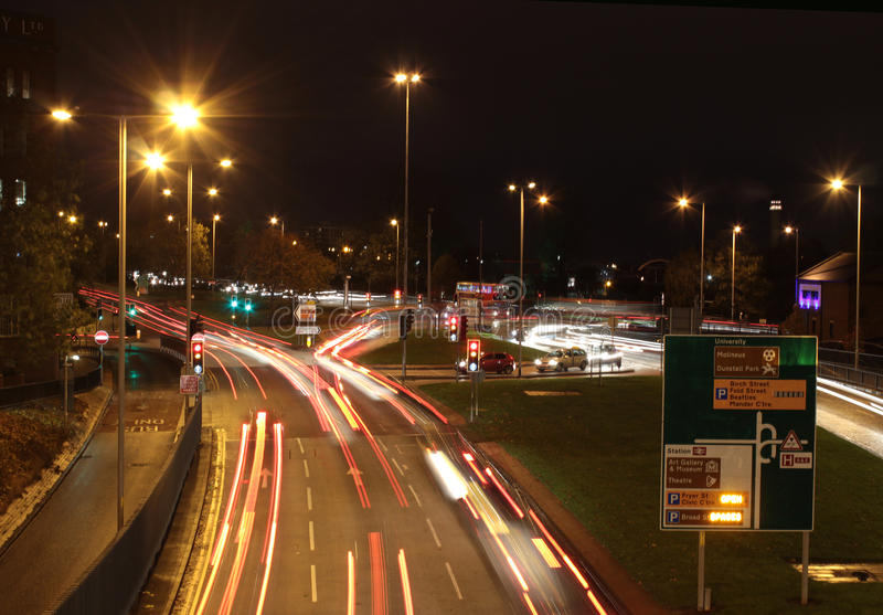 Light trails on ring road, Wolverhampton stock photos