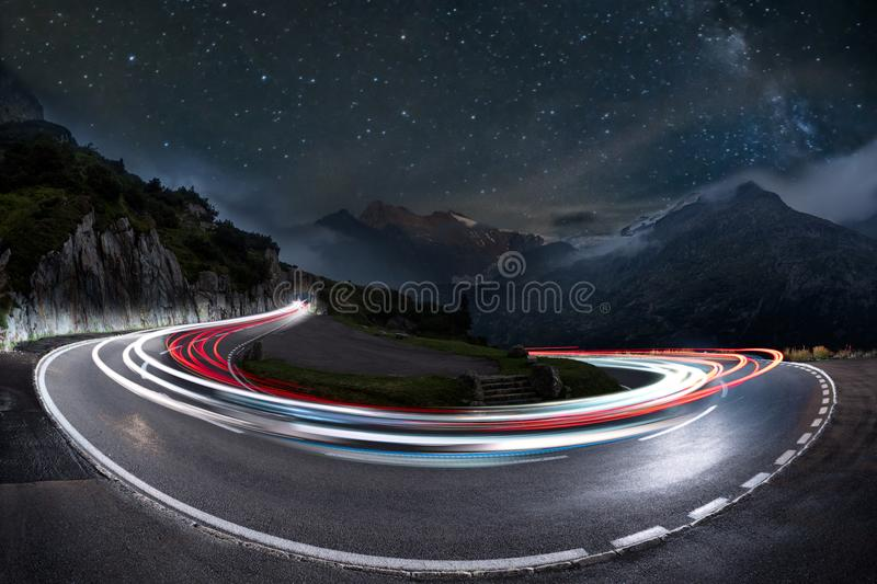 Download Light Trails Speed Curve And Milky Way Stock Photo - Image of lights, curve: 108829324