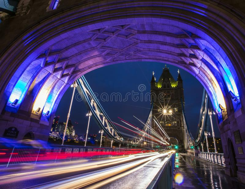Light Trails on Tower Bridge in London royalty free stock images