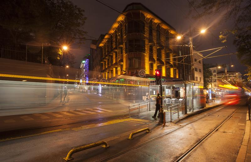 Light trails from a tram royalty free stock photos