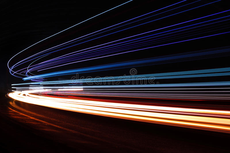 Light Tralight Trails In Tunnel. Long Exposure Photo In A ...