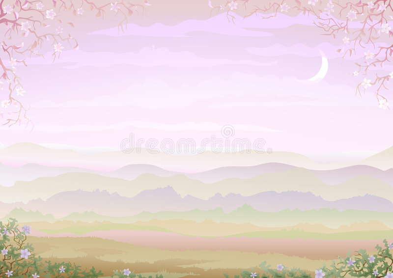 Light and tranquil morning landscape. With floral border (other landscapes are in my gallery royalty free illustration