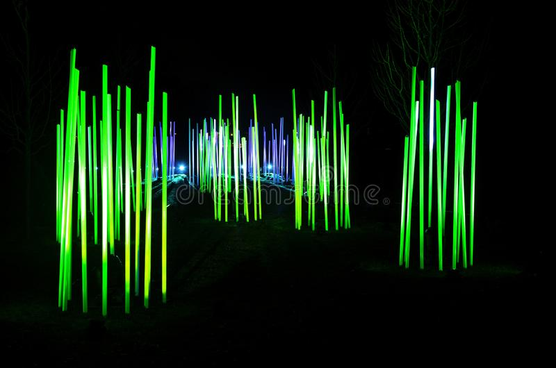 Light Tubes Illuminated at Night in Park. Light tubes illuminated like giant glow sticks at night in park during holidays royalty free stock photos