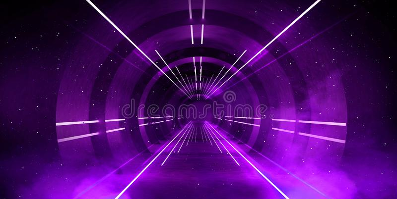 Light tunnel, dark long corridor with neon lamps. Abstract purple background with smoke and neon lights. royalty free stock photos