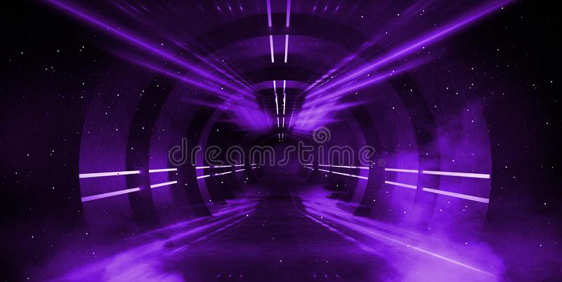 Light tunnel, dark long corridor with neon lamps. Abstract purple background with smoke and neon lights. stock photos