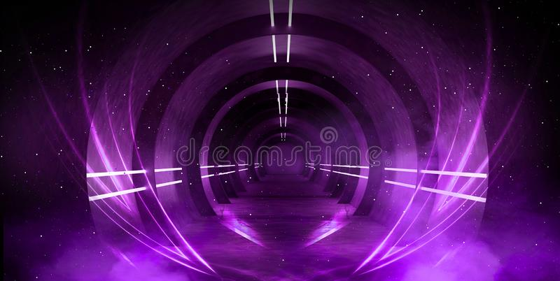 Light tunnel, dark long corridor with neon lamps. Abstract purple background with smoke and neon lights. royalty free stock photo