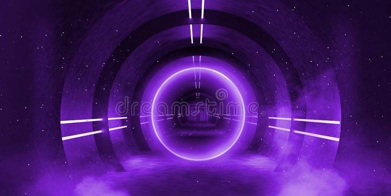 Light tunnel, dark long corridor with neon lamps. Abstract purple background with smoke and neon lights. stock photo