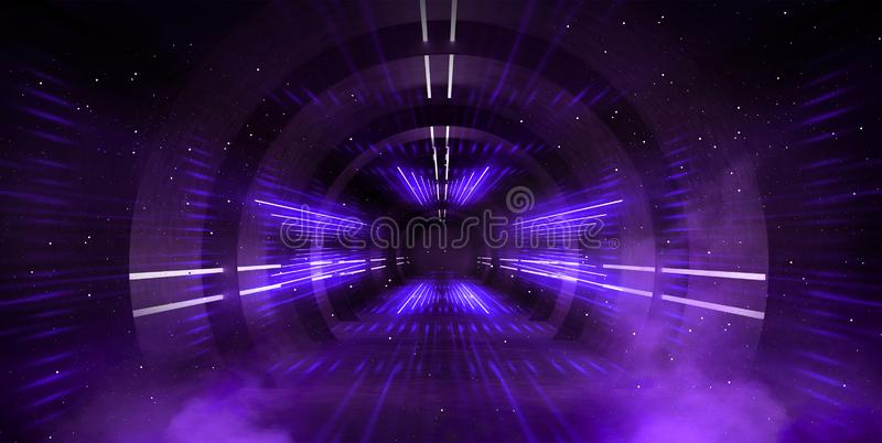 Light tunnel, dark long corridor with neon lamps. Abstract purple background with smoke and neon lights. stock images