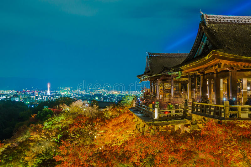 light up laser show at Beautiful Architecture in Kiyomizu-dera T stock photos