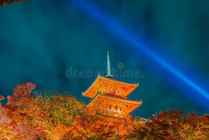 light up laser show at Beautiful Architecture in Kiyomizu-dera T royalty free stock image