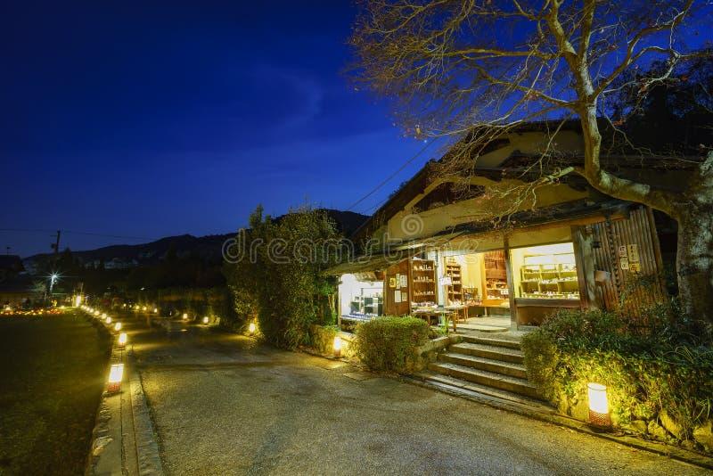 Light up and light festival in Arashiyama area royalty free stock images