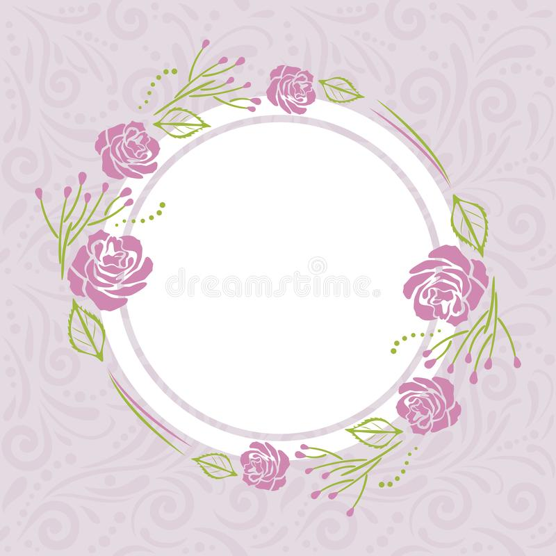 Light violet pattern with stylized wreath of roses for greeting card stock photography