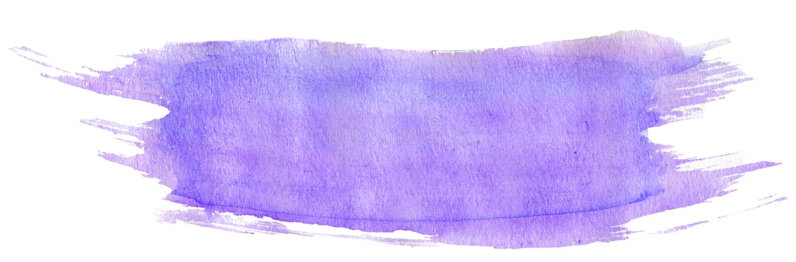 Light violet watercolor stroke with brush`s texture, hand-painted illustration royalty free illustration