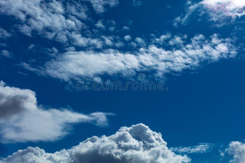 Blue cloudscape background. Light vivid blue serene majestic cloudscape background stock images
