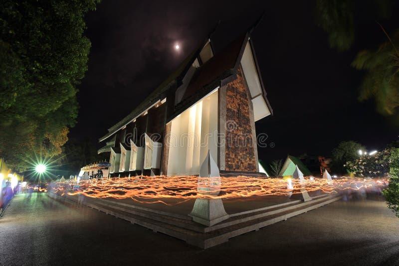 LIGHT WAVING RITE in Sala Loi Temple churches stock image