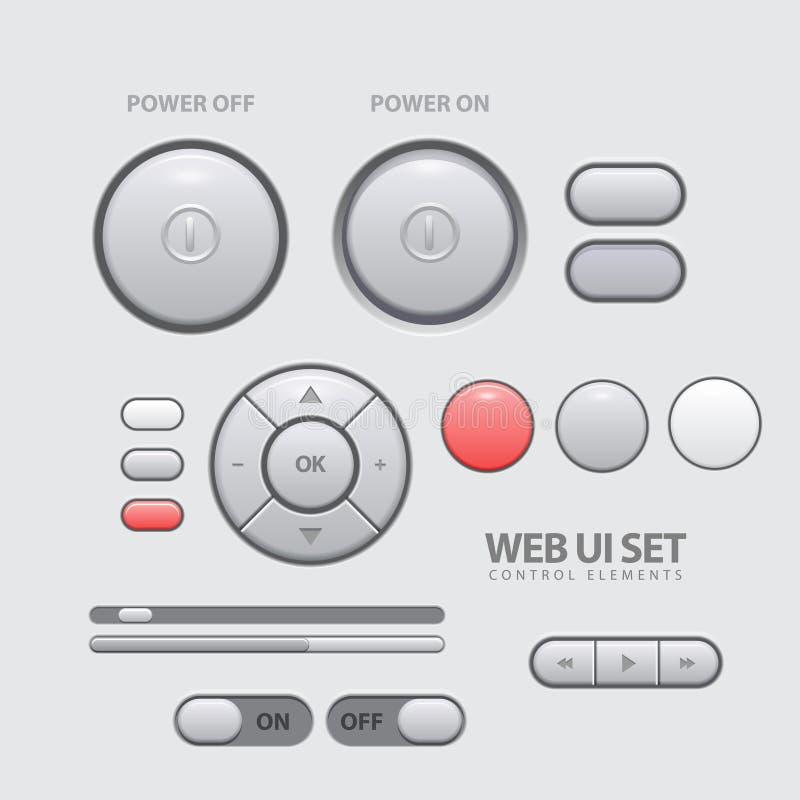 Light Web UI Elements Design Gray. Royalty Free Stock Photo