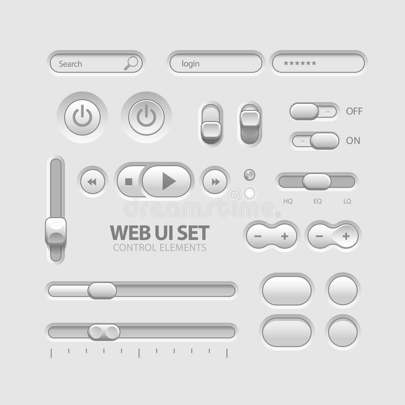 Light Web UI Elements Design Gray vector illustration