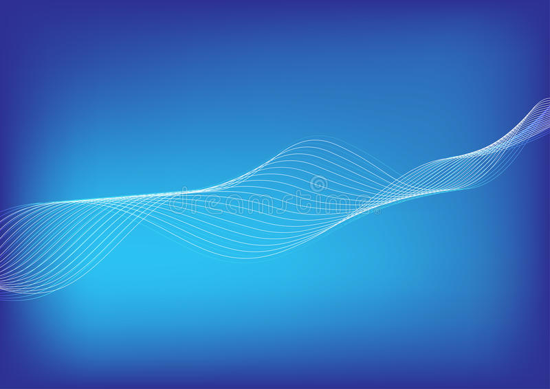 Light white blending line wave flowing on gradient blue background. royalty free illustration