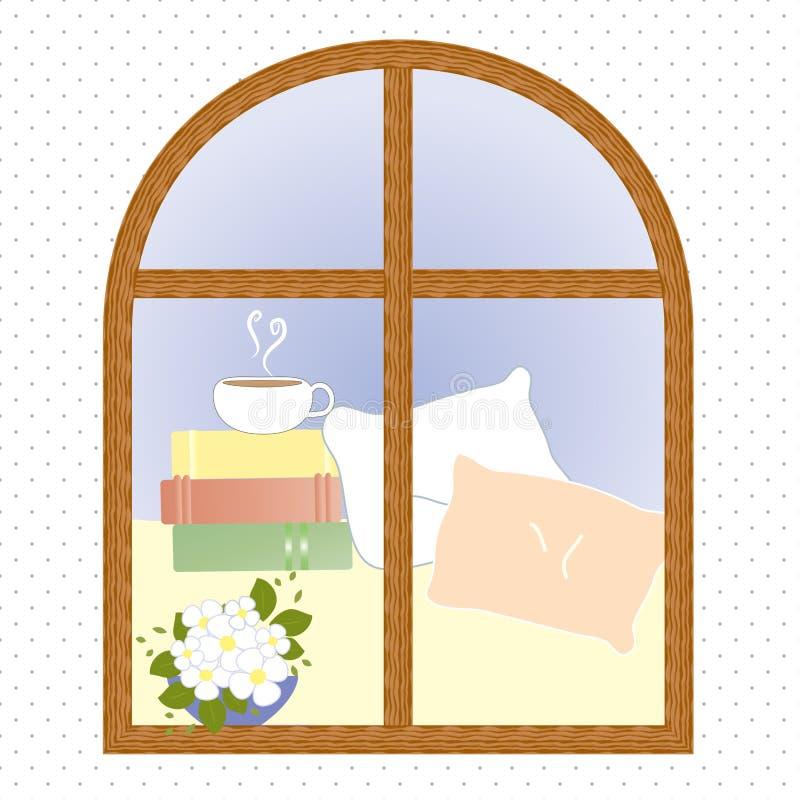Light window city romance coffee break vector. Light window city romance coffee vector illustration royalty free illustration