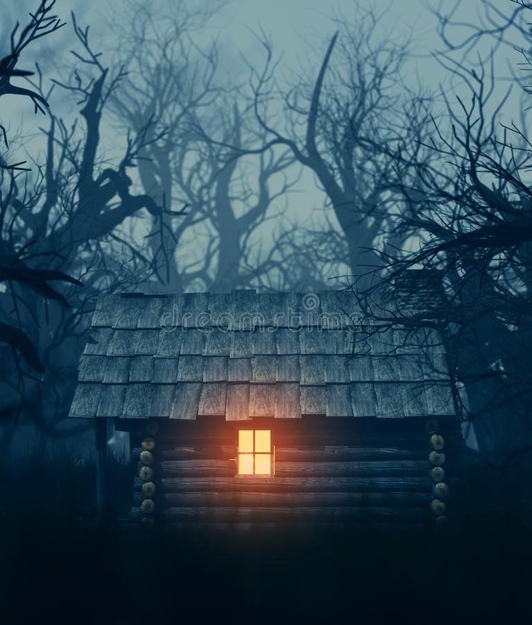 Light from window of an old cabin. In haunted forest,3d illustration for your book cover project royalty free illustration