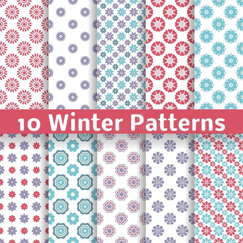 Light winter romantic vector patterns (tiling). stock illustration