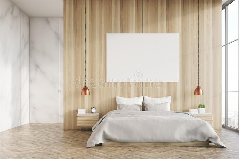 download light wood and marble bedroom with poster stock illustration illustration of gallery decor