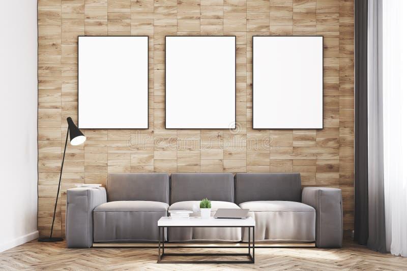 Light wood walls living room, front stock illustration