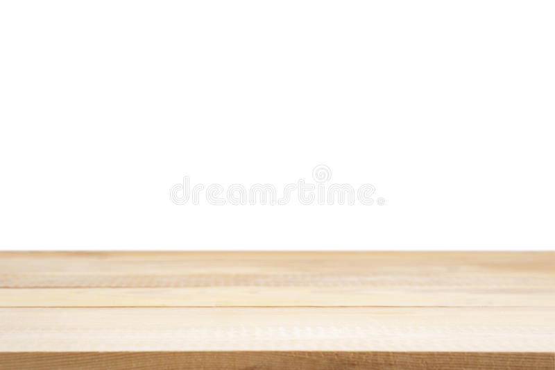 Light wooden board empty table isolated stock photography