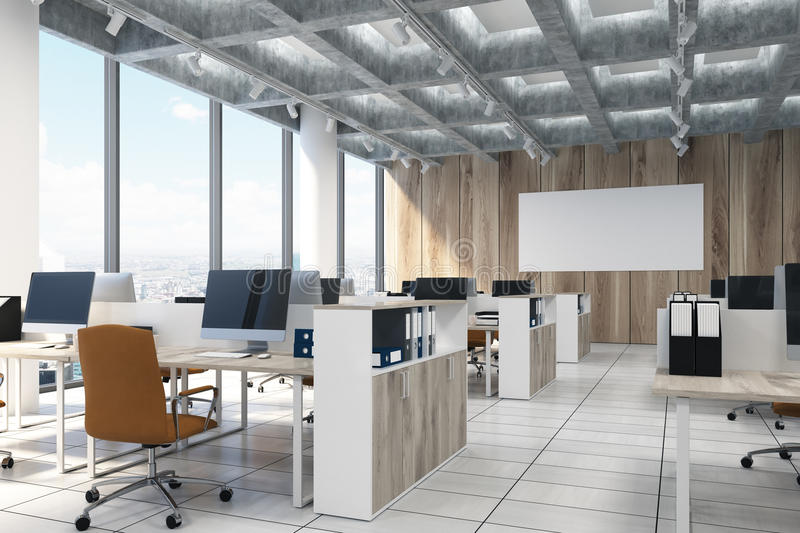 Light Wooden Open Office, Computers, Poster, Side Stock Illustration ...