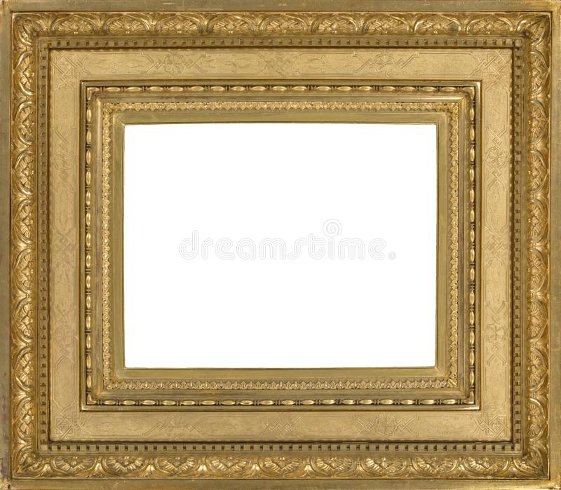 Light wooden picture frame gilded for wall hanging stock photos