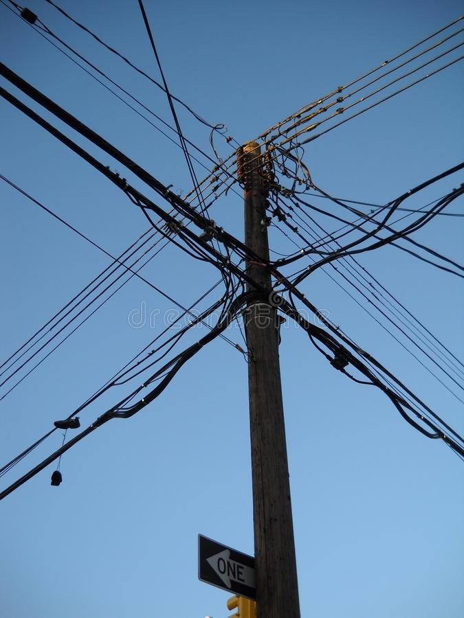 Light Wooden Pole Electrical Wires Editorial Image - Image of ...
