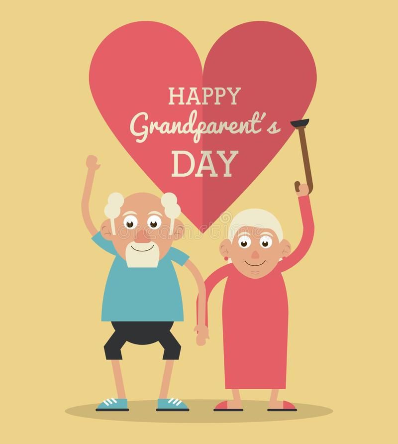 Light yellow color card and heart background with text happy grandparents day with elderly couple holding hands and. Grandmother raising the cane vector royalty free illustration