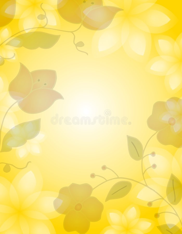 light yellow floral background stock illustration