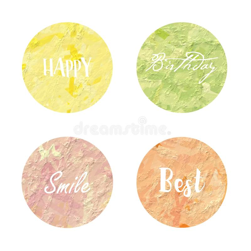 Light yellow green pink orange love pastel circle background in vector illustration