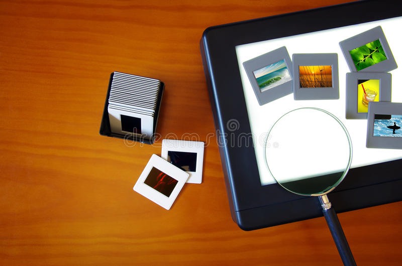 Lightbox com corrediças foto de stock royalty free