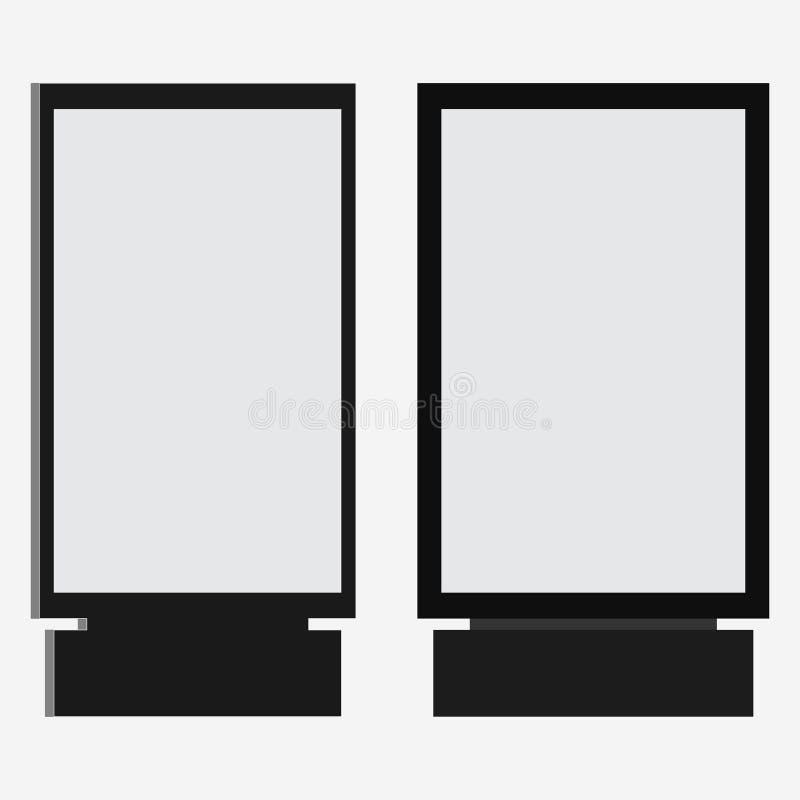Lightbox oder vertikale Stadtformatanschlagtafel Leuchtkasten Signage im realistischen Rahmenentwurf stock abbildung