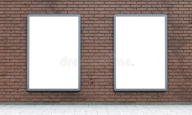 Lightboxes o paneles LCD en blanco de la calle en la pared de ladrillo marrón libre illustration