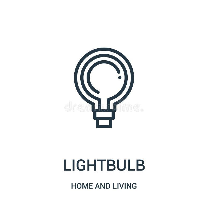 lightbulb διάνυσμα εικονιδίων από τη συλλογή σπιτιών και διαβίωσης Η λεπτή γραμμή lightbulb περιγράφει τη διανυσματική απεικόνιση απεικόνιση αποθεμάτων