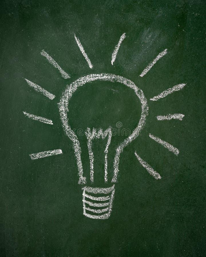 Lightbulb που επισύρεται την προσοχή σε έναν πίνακα κιμωλίας στοκ εικόνα