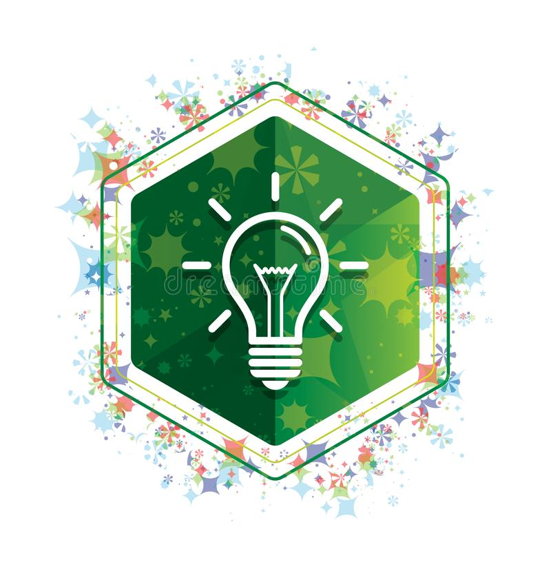 Lightbulb πράσινο hexagon κουμπί σχεδίων εγκαταστάσεων εικονιδίων floral απεικόνιση αποθεμάτων