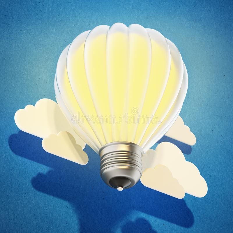 Lightbulb balloon flying among the clouds. 3D illustration.  stock illustration