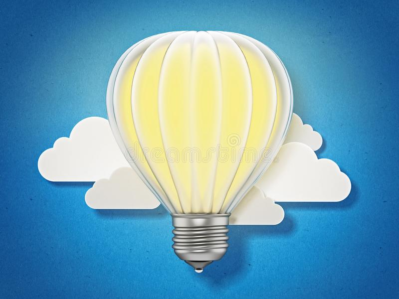Lightbulb balloon flying among the clouds. 3D illustration.  royalty free illustration