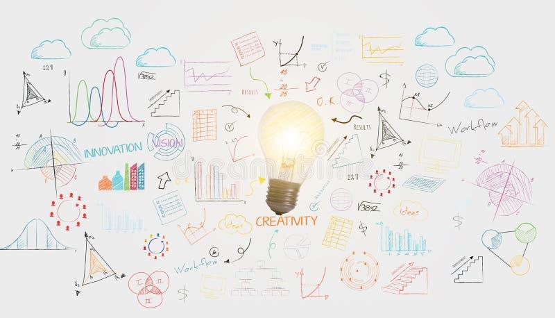 Lightbulb bedrijfsmuurachtergrond concept voor nieuwe ideeën vector illustratie