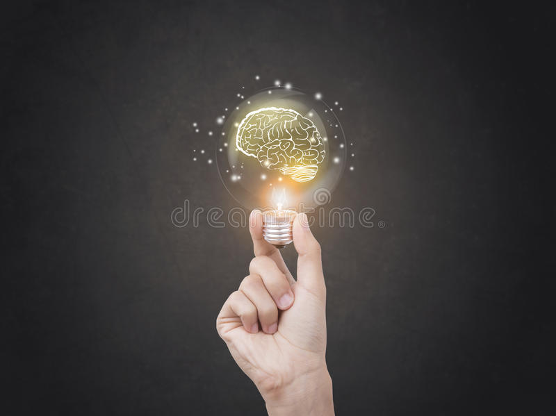 Lightbulb brainstorming creative idea abstract icon. Lightbulb brainstorming creative idea abstract icon on business hand royalty free stock images