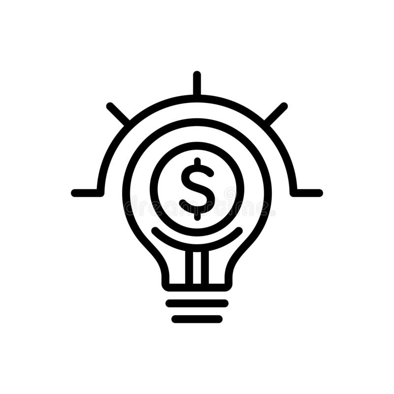 Black line icon for Lightbulb On With Dollar Sign, symbol and commerical vector illustration