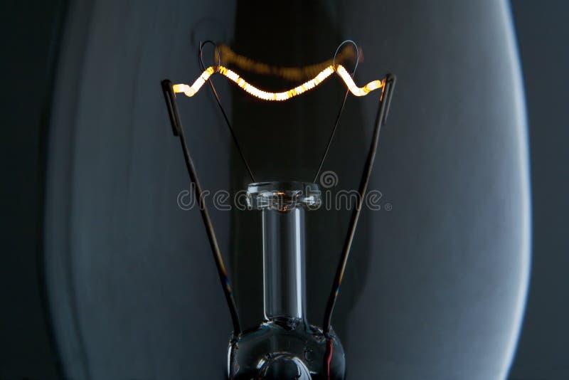 Lightbulb filament macro stock photo