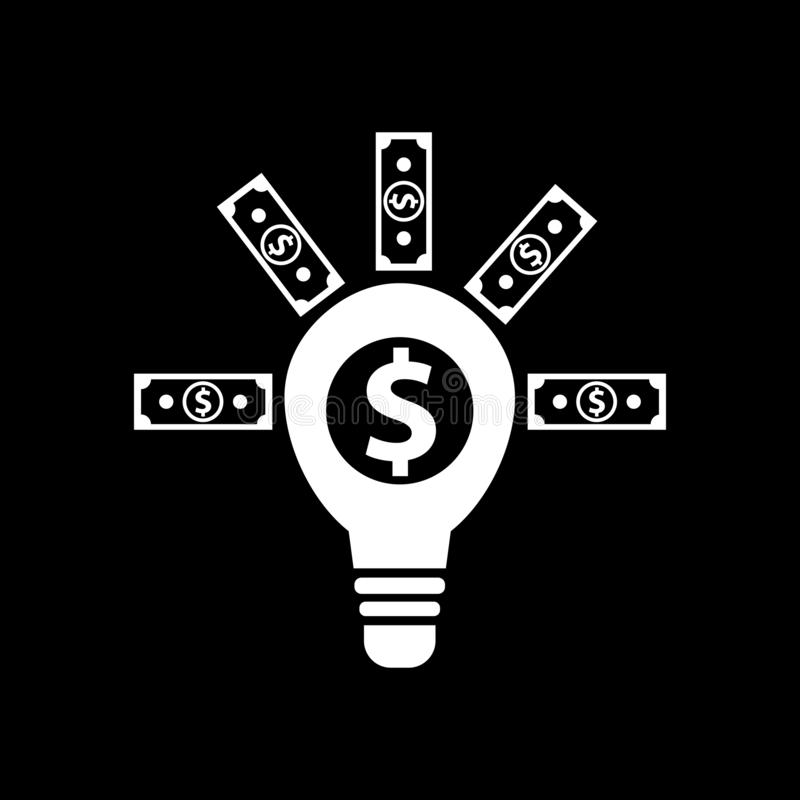 Lightbulb and financial concept ideas for web icons and symbols on a black background. And flat vector illustration