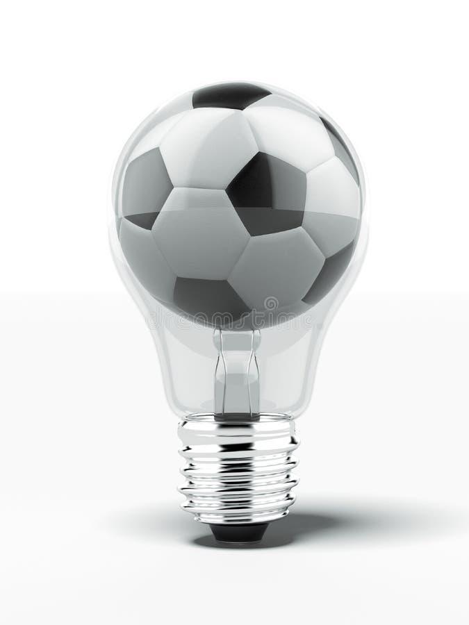 Lightbulb With Football Inside Stock Photo